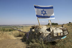 Israel. Old tank used during the 1967 war with the flag of Israel on the Golan, Israel Royalty Free Stock Photo