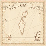 Israel old treasure map. Sepia engraved template of pirate map. Stylized pirate map on vintage paper Royalty Free Stock Images
