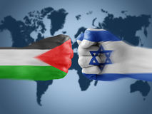 Israel x palestine. Boxing flag hands royalty free stock image