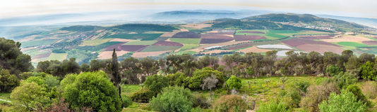 Israel Panorama of the valley from Mount Tabor. Royalty Free Stock Image