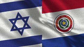 Israel and Paraguay Flag - Two Flags Together. Realistic wave with flags royalty free stock photo