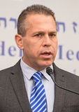 2015 Israel Parliamentary Elections. Gilad Erdan, Knesset Member of the dominant right-wing Likud Party, addresses the media in the press room of Beit Hanassi Stock Photography