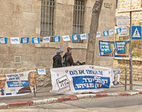 2015 Israel Parliamentary Elections. Israel parliamentary elections took place on March 17, 2015. Near one Jerusalem polling site, banners of Prime Minister stock images