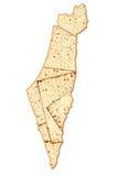 Israel Passover map. Israel map made of Matzoh ( matzah or matzo) is flat dry bread - jewish symbol of traditional Passover (Pesach) bread. Israel Passover map Royalty Free Stock Photography
