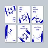Israel Patriotic Cards para el día nacional stock de ilustración