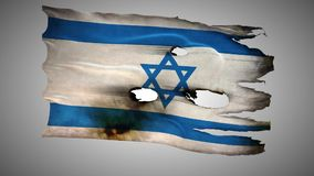 Israel perforated, burned, grunge waving flag loop alpha stock video footage