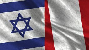 Israel and Peru Flag - Two Flags Together. Realistic wave with flags stock photos