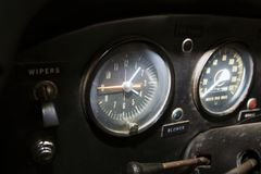 ISRAEL, PETAH TIQWA - MAY 14, 2016:  Exhibition of technical antiques. Old car`s dashboard  in Petah Tiqwa, Israel.  Royalty Free Stock Images