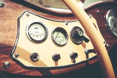 ISRAEL, PETAH TIQWA - MAY 14, 2016: Vintage MG YT 1950 dashboard.  Exhibition of technical antiques  in Petah Tiqwa, Israel. ISRAEL, PETAH TIQWA - MAY 14, 2016 Royalty Free Stock Images