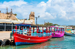 Israel, pleasure boats for tourists in Old Acre. Acre, an ancient city on the Mediterranean coast, in northern Israel Royalty Free Stock Images