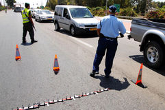 Israel Police. ASHKELON, ISR - AUG 13:Israel border patrol and police are on the search for Palestinian terrorists on 13 August 2007.The Israel Police are a Royalty Free Stock Photo