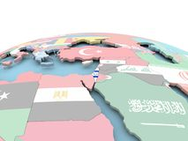 Flag of Israel on bright globe. Israel on political globe with embedded flags. 3D illustration Stock Photos