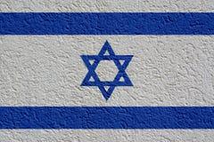 Israel Politics Or Business Concept : Mur israélien de drapeau avec le plâtre, texture photos stock