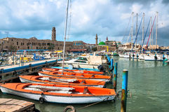 Israel, port and the old city of Acre. The left is the clock tower inn Al Umda Stock Photos