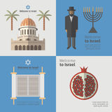 Israel poster set. Flat icon. Vector Royalty Free Stock Photography