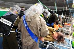 Israel Prepares pour Rocket Attacks biologique et chimique Photos libres de droits