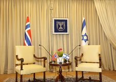 Israel Presidential Residence. Prior to a meeting between Israels President and Norways Foreign Minister, a meeting room of Beit Hanassi, the Israel Presidential royalty free stock photos
