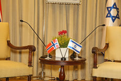 Israel Presidential Residence. Prior to a meeting between Israels President and Norways Foreign Minister, a meeting room of Beit Hanassi, Israels Presidential stock photos