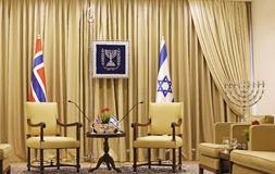 Israel Presidential Residence. Prior to a meeting between Israels President and Norways Foreign Minister, a meeting room of Beit Hanassi, the Israel Presidential stock photography