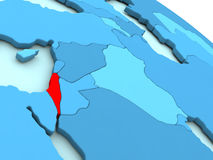 Israel in red on blue globe Royalty Free Stock Images