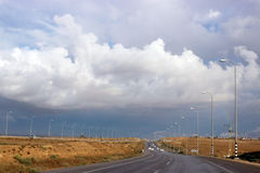 Israel roadway. If you look closely to the right, you can see the rainbow Royalty Free Stock Images