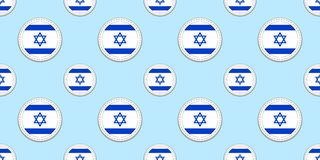 Israel round flag seamless pattern. Israeli background. Vector circle icons. Geometric symbols stickers. Texture for sports pages. Games, travelling design vector illustration