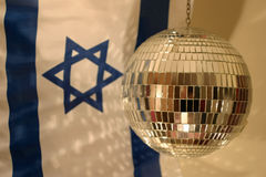 Israel's independence day. Focus on the ball, flag in the background is out of focus royalty free stock images