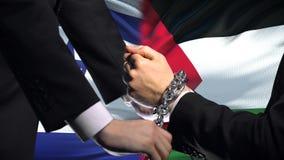 Israel sanciona Palestina, el conflicto encadenado de los brazos, político o económico, prohibición almacen de metraje de vídeo