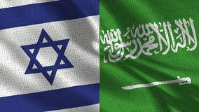 Israel and Saudi Arabia Flag - Two Flags Together. Realistic wave with flags stock photos