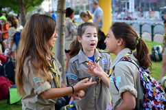 Israel Scouts in a lively discussion. Getting ready to leave for summer camp Stock Photos