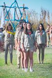 Israel Scouts marching during a yearly graduation ceremony. TEL AVIV - MAY 9, 2015: Happy Israel Scouts marching in front of their families and other spectators Royalty Free Stock Images