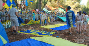 Israel Scouts members in a blue and yellow happy parade on summer camp. Unidentified Israel Scouts members aged 15-17 in a blue and yellow happy parade on summer Stock Photography