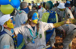 Israel Scouts members in a blue and yellow happy parade on summer camp. Unidentified Israel Scouts members aged 15-17 in a blue and yellow happy parade on summer Royalty Free Stock Photos