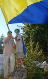 Israel Scouts members in a blue and yellow happy parade on summer camp Royalty Free Stock Images