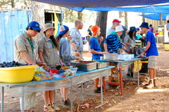 Israel Scouts members in a summer camp mess hall. Unidentified Israel Scouts members aged 15-18 in a summer camp mess hall on July 22, 2013 in Zipori Forest Royalty Free Stock Photography