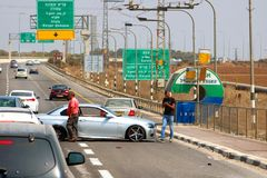 Car accidenton the road to Kiryat Shmona, Israel. City is located in the Northern District of Israel royalty free stock photo