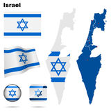 Israel set. Detailed country shape with region borders, flags and icons isolated on white background