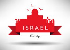 Israel Skyline with Typography Design vector illustration