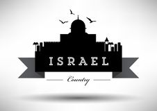 Israel Skyline with Typography Design stock illustration