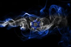Israel national smoke flag. Israel smoke flag isolated on a black background Royalty Free Stock Photography