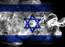 Israel national smoke flag isolated on a black background. Israel smoke flag isolated on a black background Stock Photography