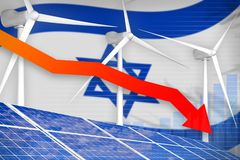 Israel solar and wind energy lowering chart, arrow down - modern natural energy industrial illustration. 3D Illustration. Israel solar and wind energy lowering royalty free illustration