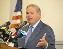 Israel Solidarity Rally. New Jersey Democratic Senator Robert Menendez speaks at the Israel Solidarity Rally before an audience of hundreds at the Alex Aidekman Royalty Free Stock Images