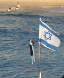 Israel state flag on a beach. In keisaria port Stock Image