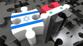 Israel and Syria flags on puzzle pieces. Political relationship concept. 3D rendering royalty free illustration
