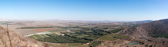 Israel and Syria panorama from Golan Heights. View to Syria civil war landscape from Golan Heights Stock Images