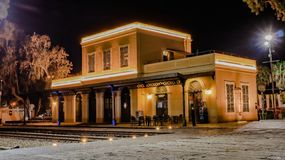 Israel Tel Aviv Yafo Old Train Station Jaffa at night stock photos
