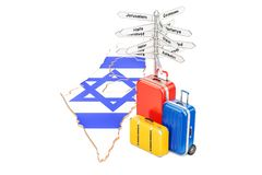 Israel travel concept. Israeli map with suitcases and signpost, Royalty Free Stock Photo