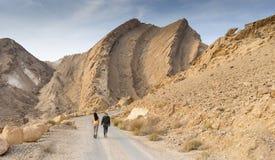 Hiking in israeli stone desert. Israel travel trek in desert backpackers tourism Royalty Free Stock Image