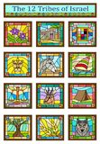 Israel Tribes Symbols. Stained glass design of the 12 tribes of Israel. Eps10 stock illustration